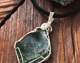 GREEN TOURMALINE Wire Wrap Necklace, Tourmaline Slice Wrapped in Silver, Heady Wire Wrap Pendant