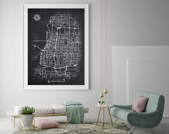 MEMPHIS Tennessee Chalkboard Map Art Black and White Memphis TN Vintage City Map Graphic Detailed Scheme Street Map Wall Art Decor
