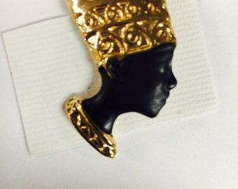 Vintage Egyptian Queen Nefertiti Pin Brooch Made In Egypt