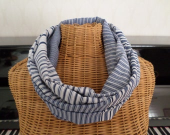 snood in viscose and polyester high quality blue and white tones