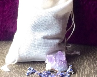 Lavender sachet with amethyst -Dried Lavender sleep sachet peaceful dreams