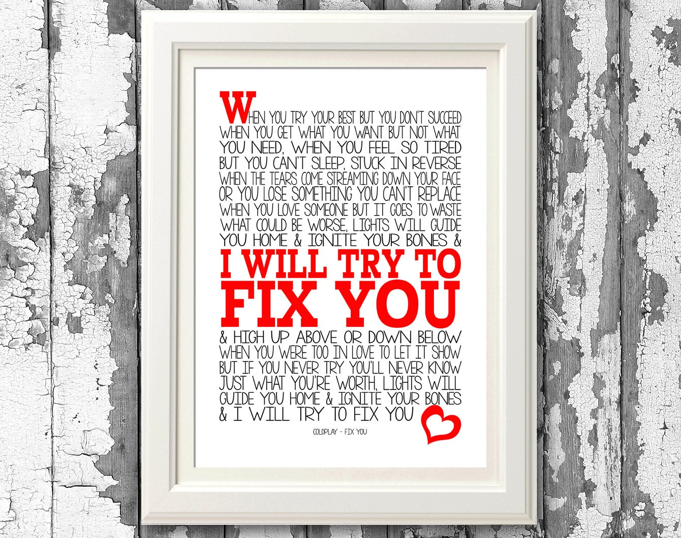 Coldplay Fix You Song Lyric Print 8x10 picture mount &