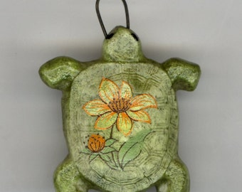 China Painted Porcelain Turtle with Flower Transfer on it's Back