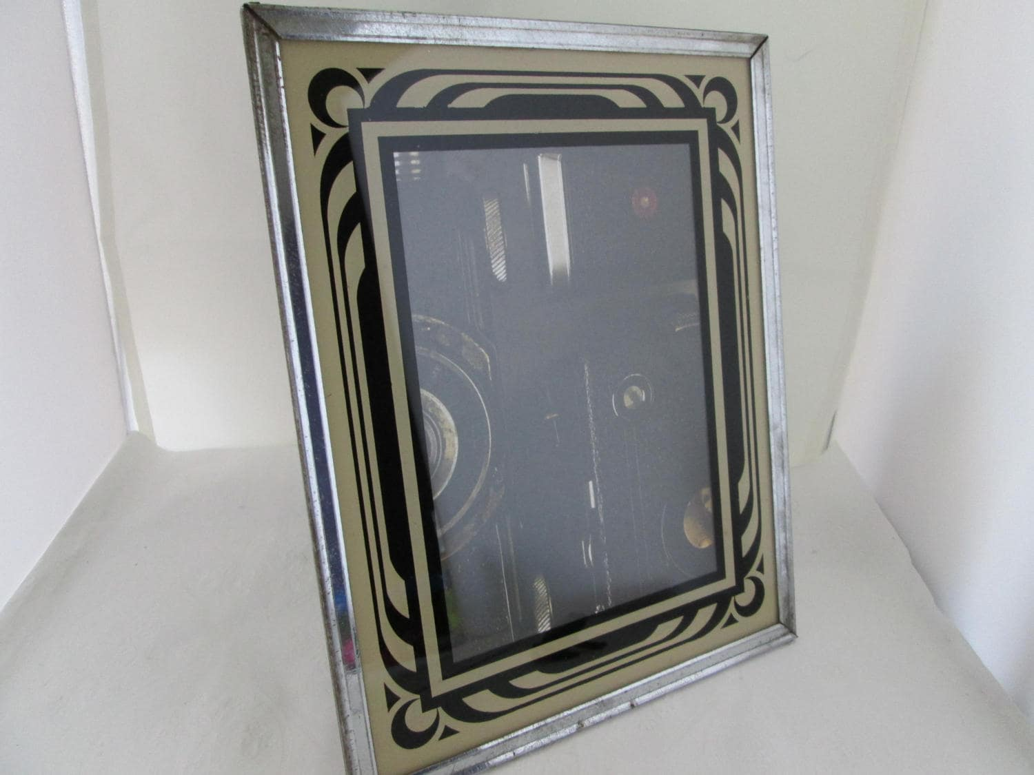 Art deco chrome picture frame w reverse painted mat photo frame sold by lynnysvintage jeuxipadfo Image collections