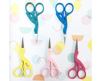 Snipster stork embroidery scissors   coloured embroidery scissors   crane scissors