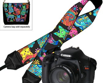 Cat Camera Strap, Cute Camera Strap, Canon Camera Strap, Camera Neck Strap, DSLR Camera Strap, Camera Accessories,  Cat Lover Gift  RTS