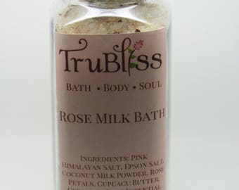 Rose Milk Bath-Pink Himalayan Salt-Geranium Rose and Lavender essential oils-Cupuacu butter-Moisturizing Bath-Relaxing and Detoxifying