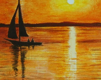 "Sunset at Sea, Original Acrylic Painting, Wall Decor, Seaside painting, Italian travel, Size: 17 x 24cm (6,7 x 9,4"")"