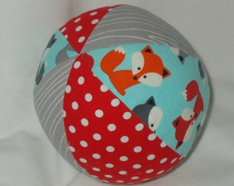 Blue Foxes Fabric Boutique Ball Rattle Toy