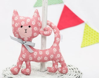 Floral Rattling Curly Cat / Rattle / Pastel Stuffed Cat / Animal Sewed of Premium Quality Fabric / Soft Toy
