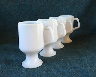 Vintage White Textured Glass Pedestal Mugs, Set of 4