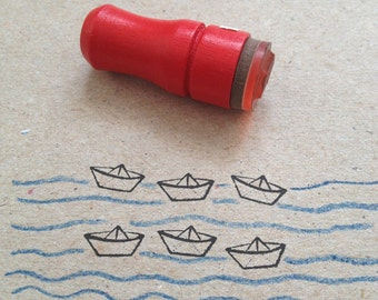 Mini Paper Boat Rubber Stamp