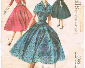 McCalls 3392 - Vintage 1950s Sewing Pattern - Misses' Two-Piece Dress