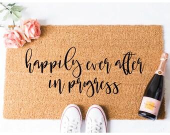 Happily Ever After Doormat - Funny Doormat -  Door Mat - Welcome Doormat - Housewarming Gift - Bridal Shower Gift - Gift for Newlyweds - Rug