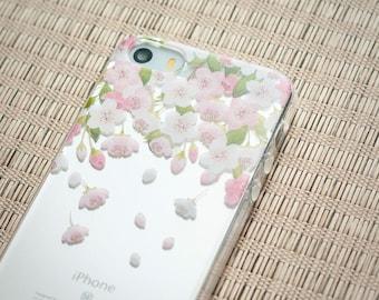 iPhone SE Case iPhone Case SE iPhone 5s Case iPhone Case 5s iPhone 5 Case - Sakura Rain - Cherry Blossom - Nyucase - Transparent Slim Case