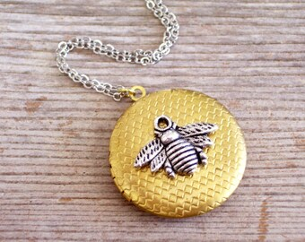 Gold and Silver Bee Locket,  Antiqued Silver Honeybee, Golden Brass Honeycomb Locket Necklace, Bee Jewelry