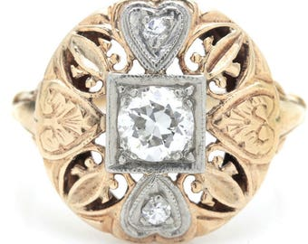 Late Edwardian 14K Yellow Gold Diamond Openwork Ring