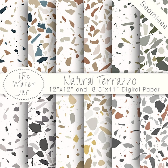 Digital Terrazzo Designs Natural Tile Patterns Texture Wallpaper Design Resource Paper Pack Colored Stone From