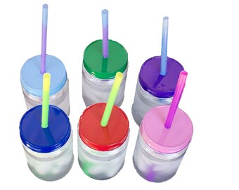 17oz Plastic Mason drinking Jars, Lids, & Color Changing Plastic Straws -Party Pack (10 pack)