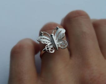 Butterfly Ring - Silver Ring Mariposa - Filigree Rings - Sterling Silver Jewelry, Filigree Jewelry, Filigree Ring, Adjustable Rings