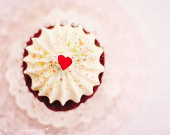 Valentine's Day - Food Photography - Kitchen Art - Dining Room - Cupcakes - Nursery - Fine Art Photography Print - Pink Red Brown Home Decor