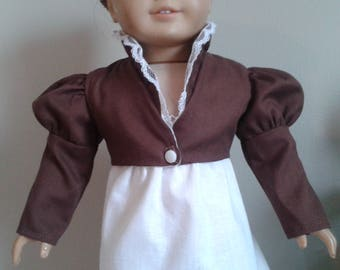 Regency Brown Cotton Summer Feather Tail Spencer for AG Caroline or 18 Inch Doll