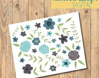 ONE Blue and Green Floral Card, Greeting Card, Blank Card