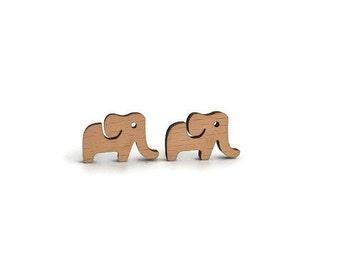Elephant wood earrings, wood jewelry, laser cut earrings, elephant earrings, elephant stud earrings, elephants studs, animal earrings, wood