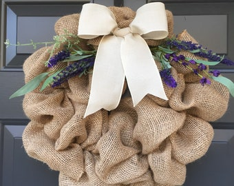 Lavender and Burlap Wreath