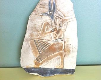 Anubis Ceramic Plaque/Egyptian God Ceramic Plaque/Egyptian Art/Ancient Egyptian Decor/Anubis Figurine/Ancient Egyptian God/Anubis Plaque