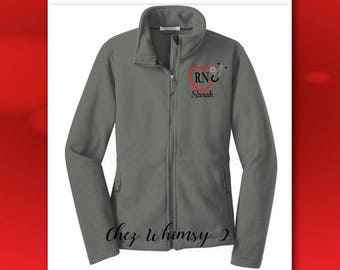 Nurse Jacket, Ladies Fleece Jacket, Embroidered Stethoscope, Full Zip Fleece Jacket, Personalized Jacket, Heart Stethoscope Monogram