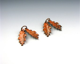 Enameled Extra Small Oak Leaf  / Autumn Enamel / Made to order