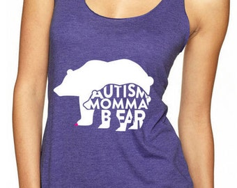 Autism Shirt, Autism Tank Top Autism Awareness Momma Bear Mama Bear