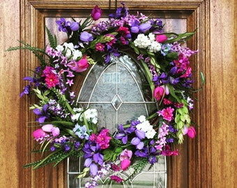 Summer Wreaths for Front Door, Double Door Wreaths, Welcome Sign for Home, Purple Gift for Her, Indoor Decor, Boho Bridal Shower Celebration