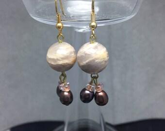 Moonstone & Pearl Earrings