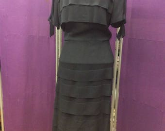 1930s Black Crepe Tiered Dress