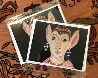 Renaissance Rabbit Woman Cards