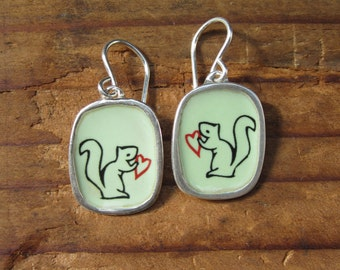 Squirrel Earrings - Vitreous Enamel and Sterling Silver Earrings with Squirrel Drawings