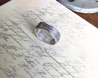 Rustic Tree Bark Ring in Pure Fine Silver - Made to Order