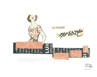 Retro fashion collage, collage vintage print, Female friend and sisterhood gift, Good vibes only art