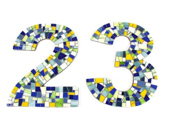 Mosaic Outdoor House Numbers for Address in Yellow, Blue and Green Stained Glass Tiles