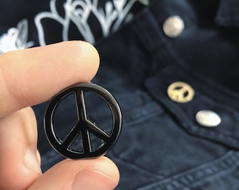 Black or Gold Peace Pin -Life Club- hard enamel pin, lapel pin, peace sign, pin peace badge soft enamel, punk pin, yoga