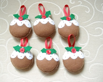 Christmas decorations, Felt Christmas decorations, Christmas pudding,