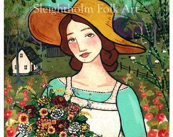 8x10 PRINT In the Dye Garden folk art
