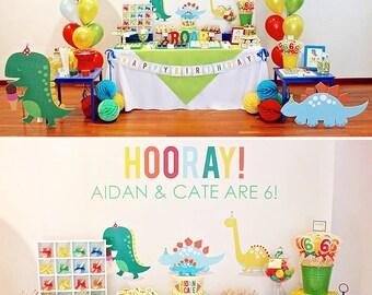 DIGITAL FILES Dinosaur Party Decorations, Dino Parade Birthday, Dinosaur Party Kit, Customized Baby Dinosaur Party Collection, Birthday
