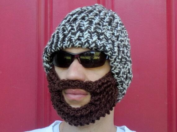 chapeau de barbe, bûcheron barbu hat The Original barbe Beanie ™ tweed brun  bûcheron chapeau au crochet, crochet bonnet ... fad81d1a040