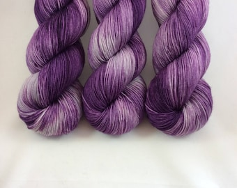 Hand Dyed Yarn - Hand Painted -  Purple Sheeple Eater - Silver - Purple - Dyed to Order