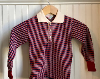 Health Tex Boys Vintage Shirt. Striped. Long Sleeved. Red And Blue Stripes. Retro Boy Clothes. Size 7.