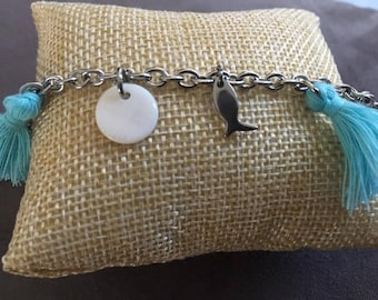 Bracelet made of steel 'fish & mother of Pearl.