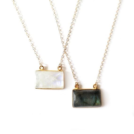 Moonstone or Labradorite Pendant Necklace